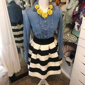 Striped black and white bubble skirt small
